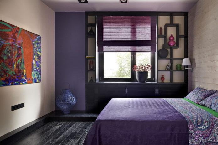 intérieur de chambre beige et violet