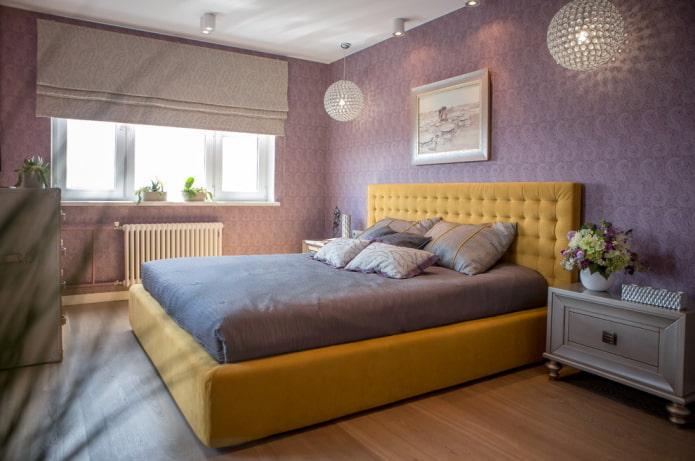 intérieur de chambre jaune lilas