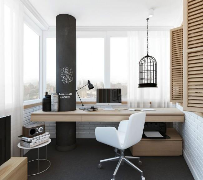 Les loggias isolées et vitrées accueillent facilement un bureau de taille moyenne avec tout ce dont vous avez besoin, se transformant en un bureau moderne et confortable, suffisamment isolé pour ne pas interférer avec votre travail et votre création