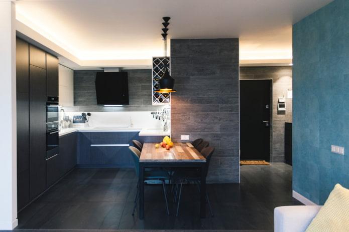 carrelage noir à l'intérieur de la cuisine