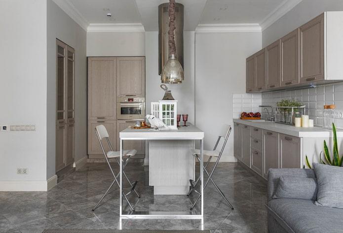 carrelage gris à l'intérieur de la cuisine