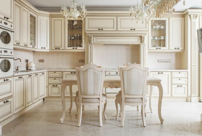 carrelage beige à l'intérieur de la cuisine