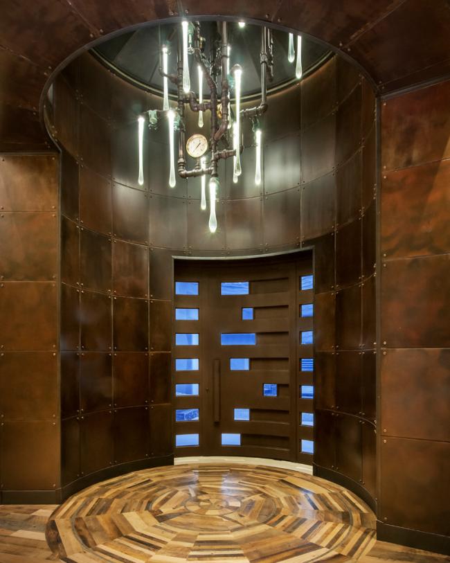 Lustre futuriste pour l'éclairage de la salle
