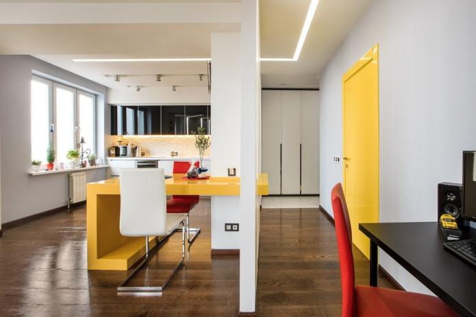 combinaison de la couleur de la porte avec le sol et les meubles à l'intérieur