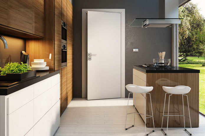 combinaison de couleurs de portes avec murs et sol à l'intérieur