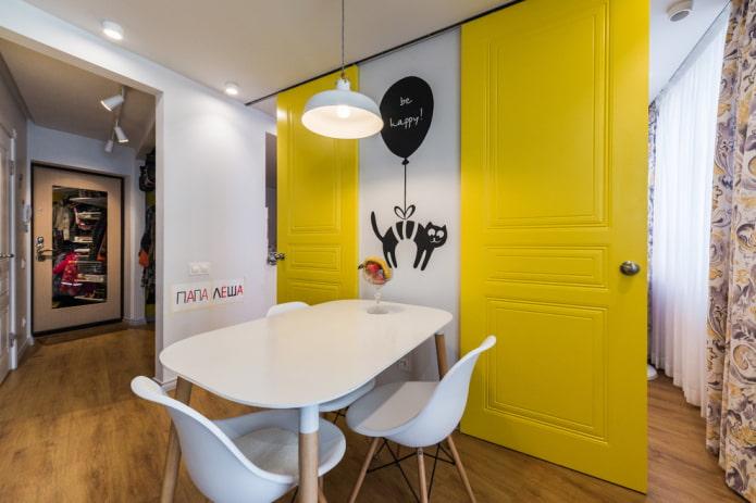 combinaison de couleur de porte avec sol à l'intérieur de la cuisine