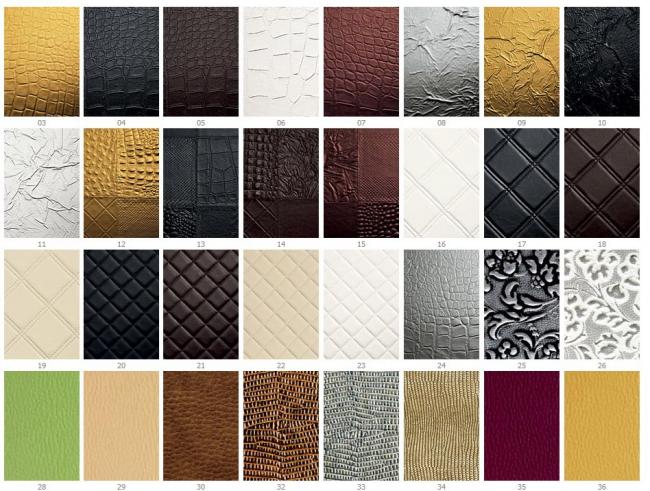 Échantillons de cuir artificiel pour la finition des façades des meubles d'armoire