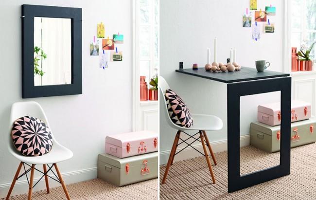 Tables à manger.  Une petite table à manger pliante est une excellente astuce pour économiser de l'espace avec un petit métrage de logement, avec le seul inconvénient - la stationnarité