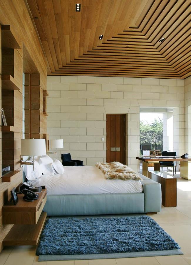 Un exemple d'utilisation modérée des couleurs de deux éléments (Eau et Bois) à l'intérieur d'une chambre :