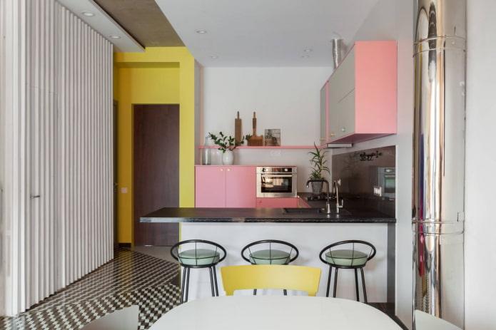 cuisine rose avec du jaune
