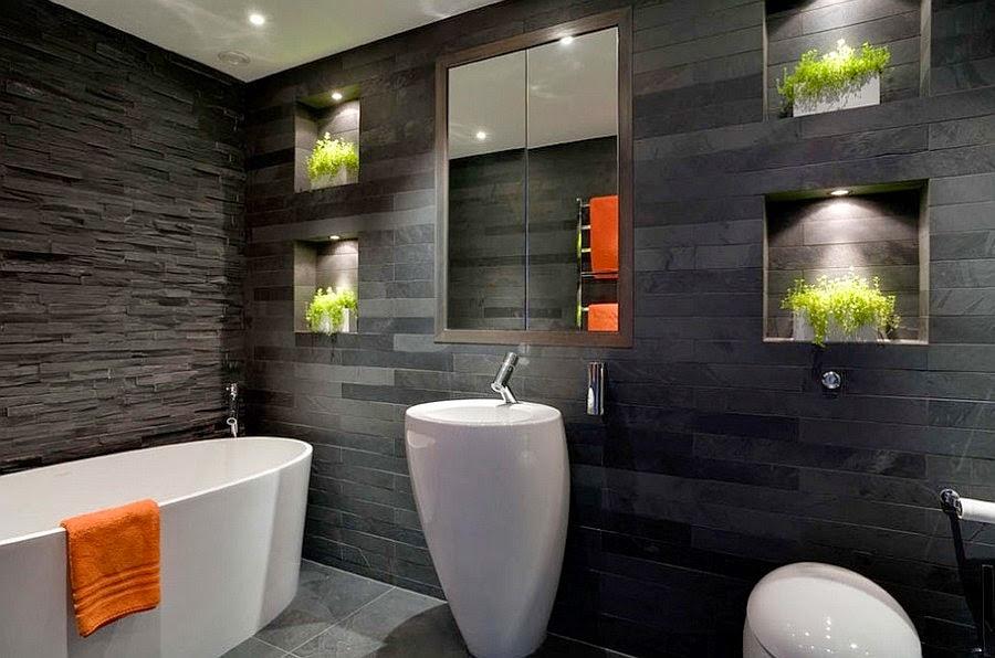Photo 6 - Mur de pierre dans une salle de bain en noir et blanc