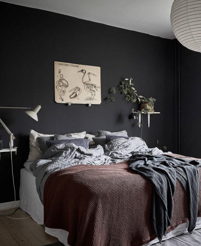 murs noirs plafond blanc