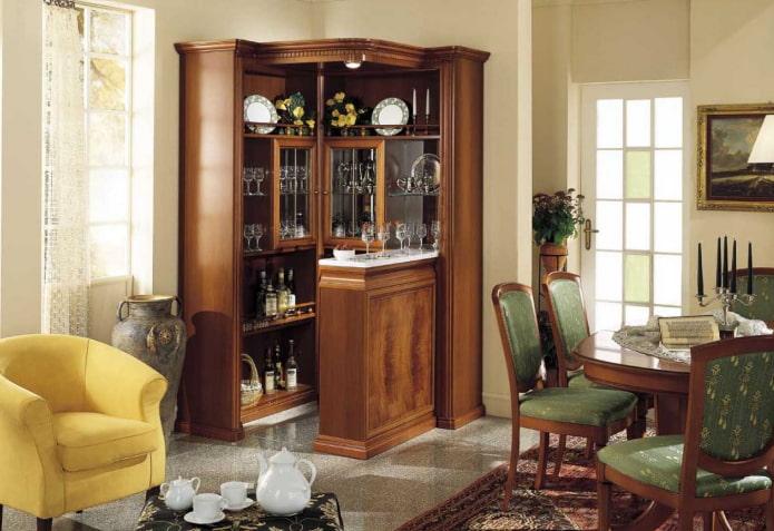 meuble bar d'angle à l'intérieur du hall