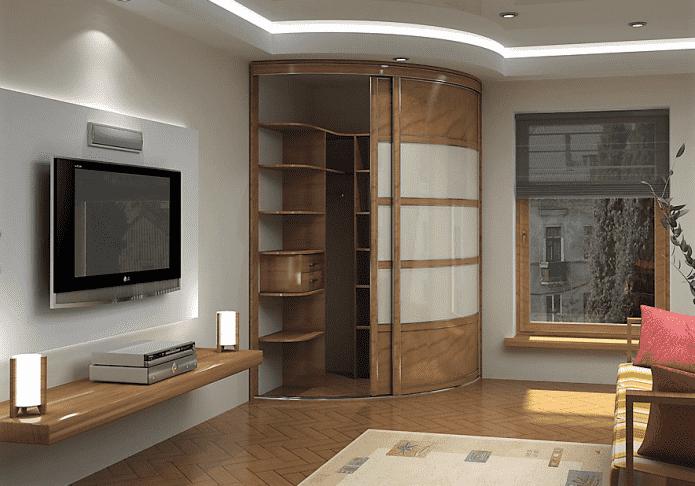 meuble d'angle de forme arrondie dans le hall