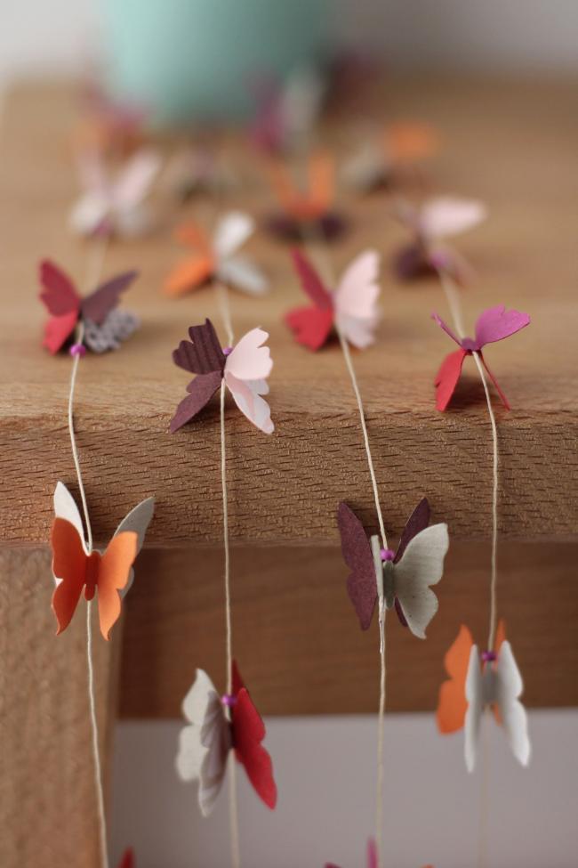 Guirlande vintage de papillons en papier
