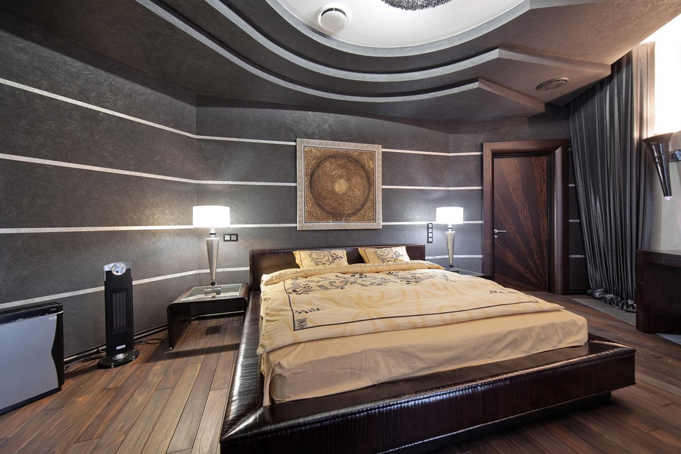 conception de chambre avec papier peint gris foncé