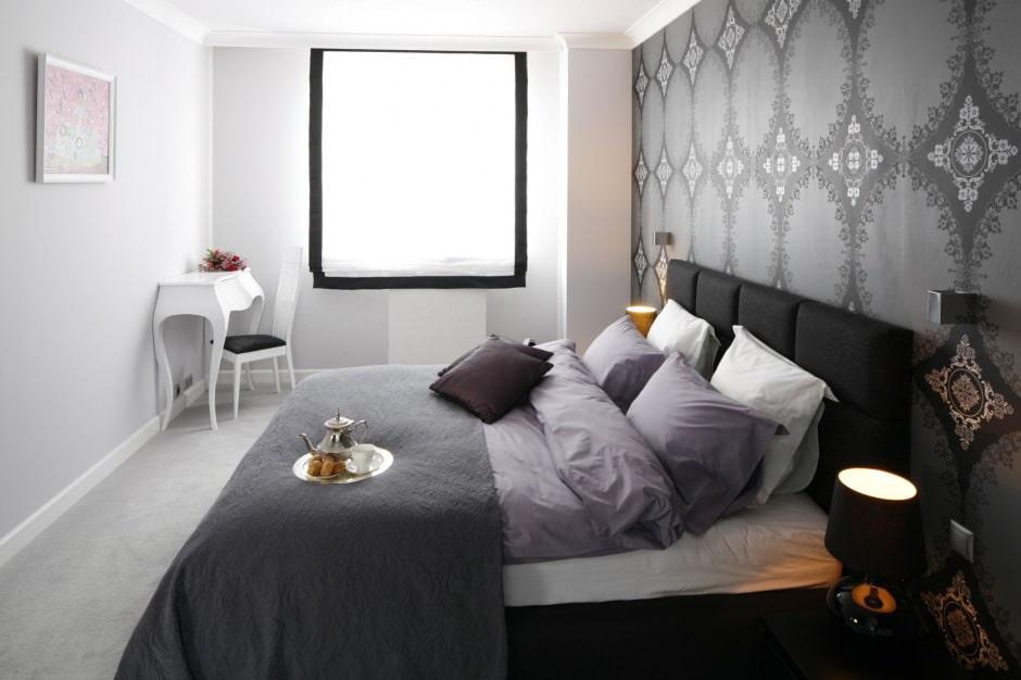 conception de chambre avec papier peint gris
