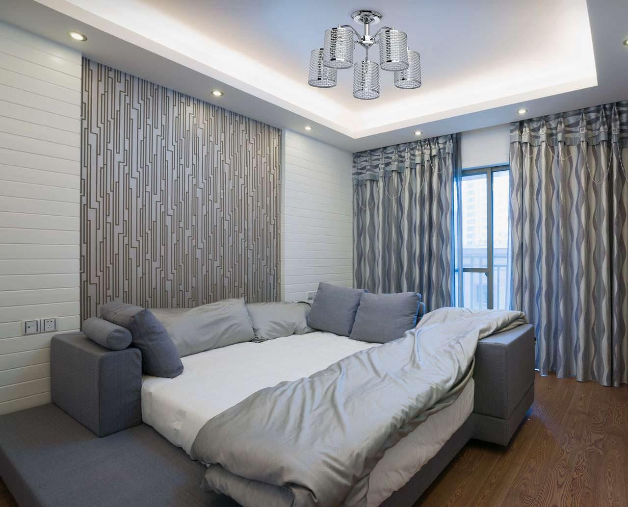 rideaux gris dans la conception de la chambre avec papier peint gris