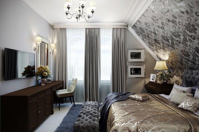 rideaux gris et blancs dans la conception de la chambre avec papier peint gris