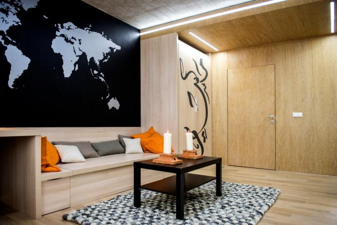 porte en bois à l'intérieur du salon