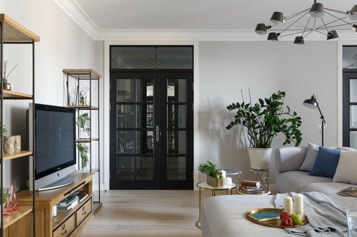 portes noires à l'intérieur du salon