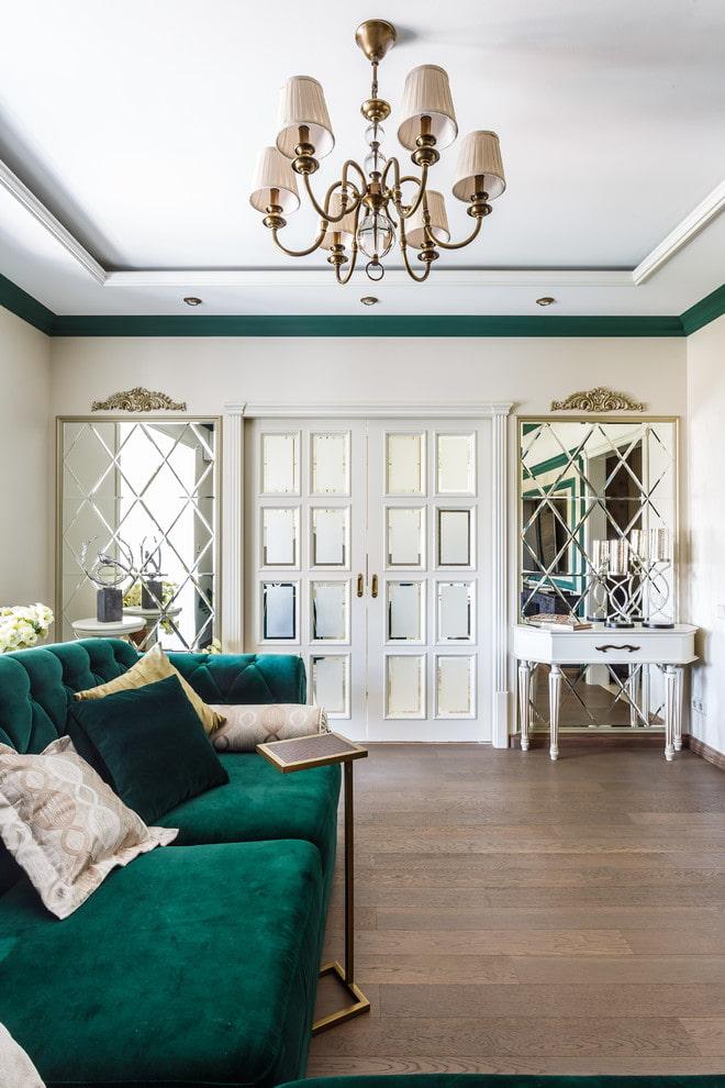 portes avec verre dépoli à l'intérieur du salon