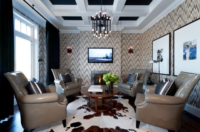Plafond en plaques de plâtre à caissons à l'intérieur du salon