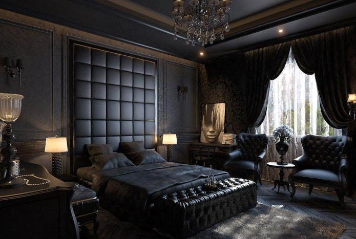 meubles à l'intérieur de la chambre dans des tons noirs