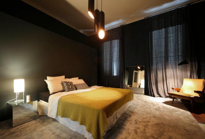 textiles à l'intérieur de la chambre aux couleurs noires