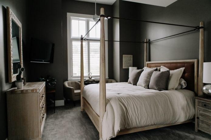 design d'intérieur de chambre aux couleurs noires