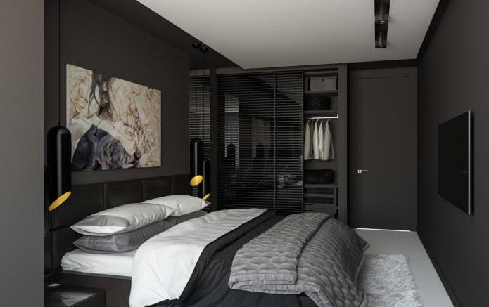 chambre en noir dans un style moderne