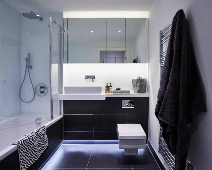 Salle de bain noir et blanc avec éclairage LED