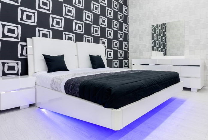 mobilier à l'intérieur de la chambre en noir et blanc