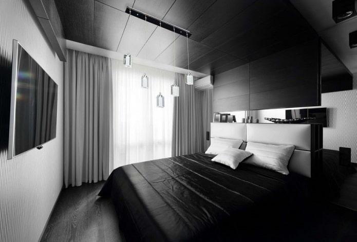 finition de la chambre en noir et blanc