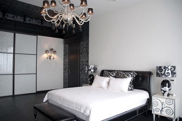 intérieur de chambre en noir et blanc dans le style art déco
