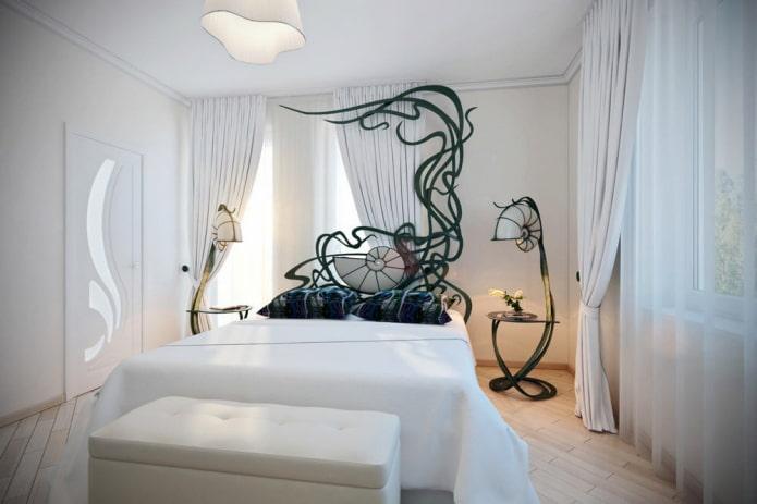 intérieur de la chambre en noir et blanc dans un style moderne