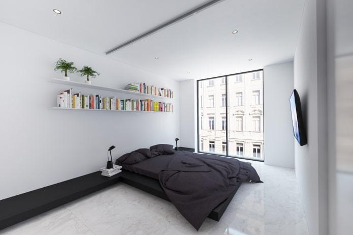 intérieur de la chambre en noir et blanc dans le style du minimalisme
