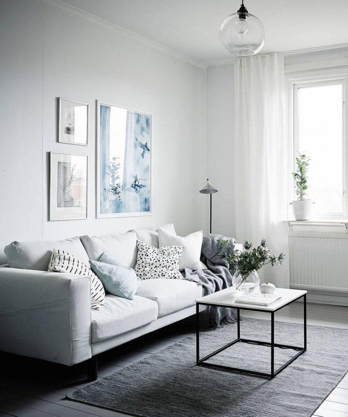 salon avec canapé blanc
