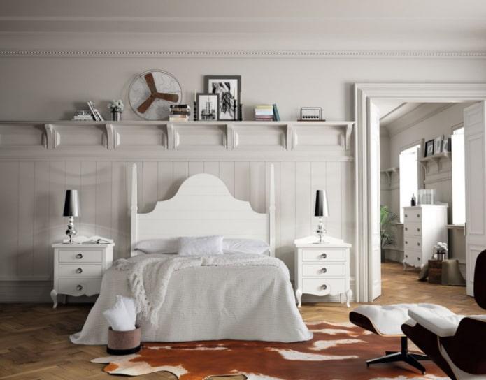 meubles blancs dans la chambre