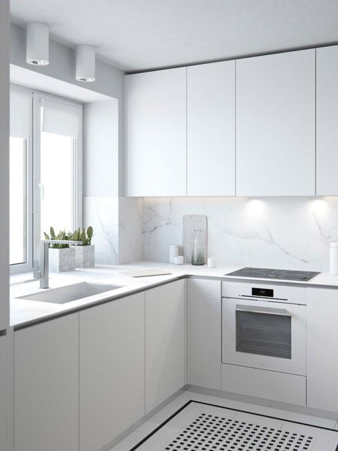 cuisine blanche dans le style du minimalisme