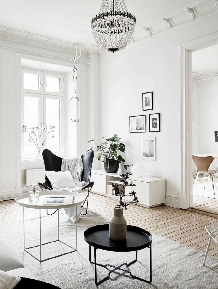 intérieur blanc de style scandi
