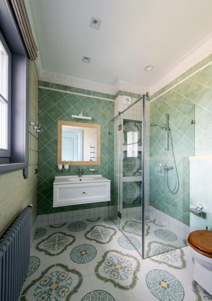salle de douche aux couleurs turquoises