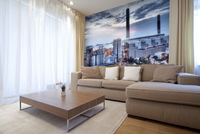 papier peint photo dans le salon