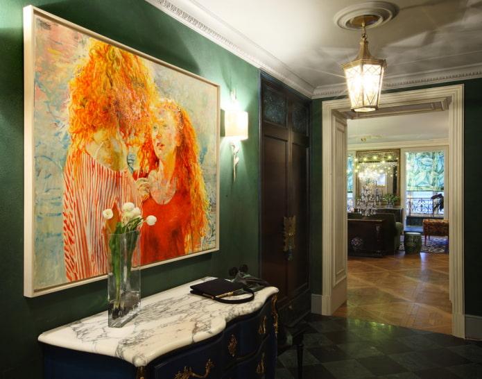 peinture à l'huile à l'intérieur du couloir