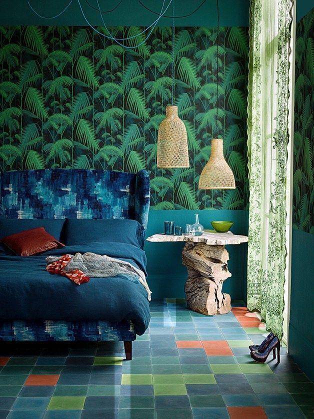 Vert jungle et bleu océan dans une chambre