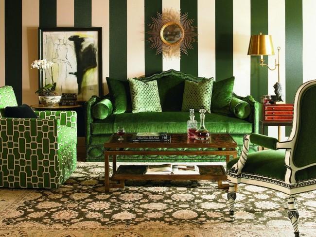 L'essentiel dans un intérieur vert est une combinaison judicieuse de couleurs