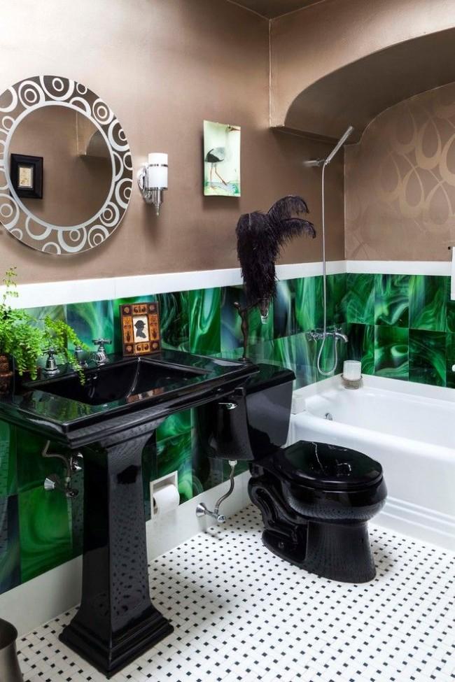 Vert et noir dans un intérieur au style rétro