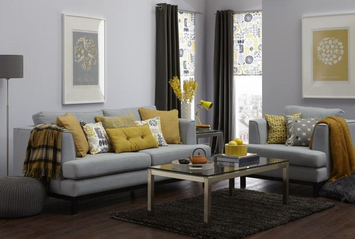 salon gris-jaune