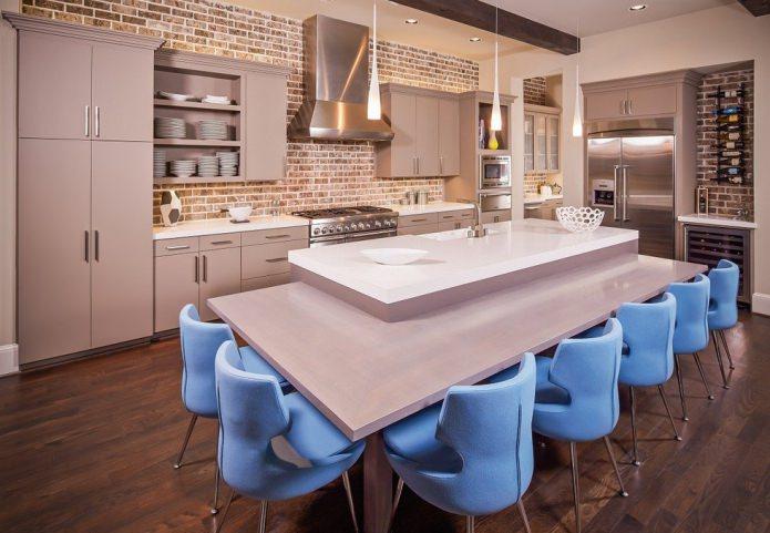 maçonnerie dans la cuisine dans un style moderne