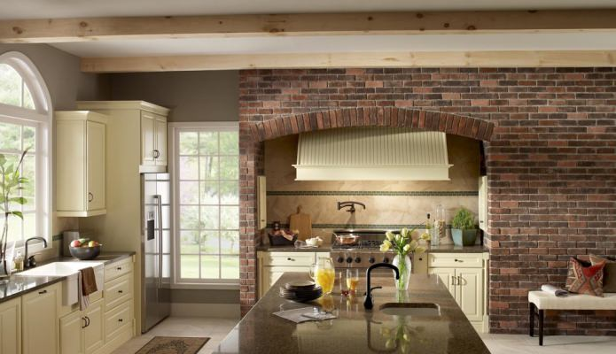 conception de cuisine en brique